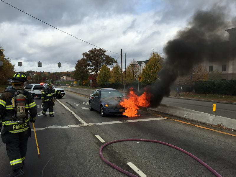 Car Fire.  Rt 59 & NYS Thruway Exit 14 Ramp.  10/25/15