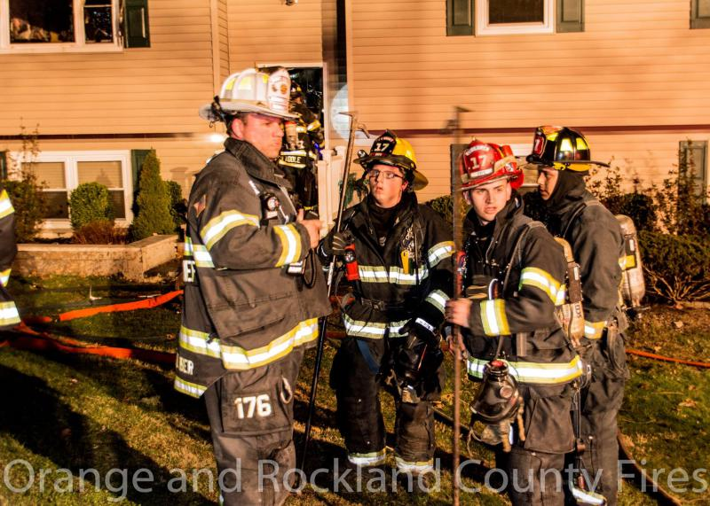 Firefighters look to veteran Chief Bill Schoenleber for guidance.  4/1/16.  Photo:  Orange & Rockland County Fires